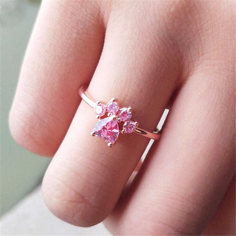 Cute Bear Paw Katze Klaue Cut Cat Hund Bärentatze Rose Gold Resizable Ringe Für Frauen Romantische Tier CZ herz Hochzeit Geschenke Ringe