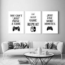 Spiel Gamer Zitate Leinwand Malerei Nordic Stil Poster Wand Kunst Schwarz Weiß Modulare Bild Für Jungen Zimmer Wohnzimmer Hause decor