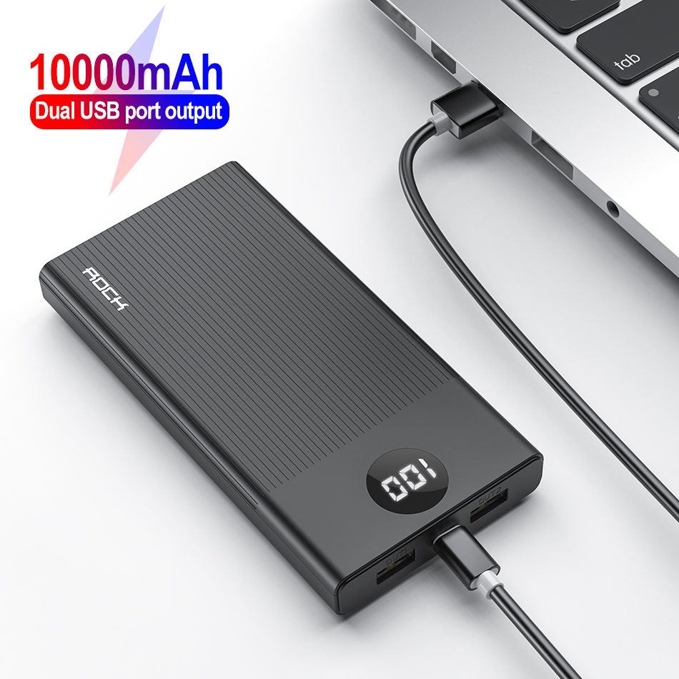 Rock Power Bank 10000mAh 2 USB Portable Quick Charger LED Display Power Bank Xiaomi For iphone Tablet External Battery PoverBank|Power Bank| |  - title=
