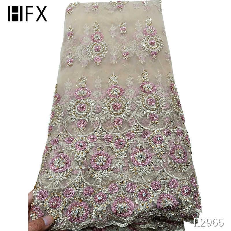 HFX אופנה אפריקאית תחרת בד באיכות גבוהה בעבודת יד חרוזים ניגרי בד תחרה 2019 באיכות גבוהה תחרה עם חרוזים 5 חצר h2965