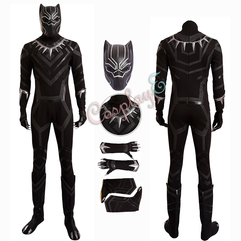 Black Panther Costume Captain America: Civil War Cosplay T'Challa Full Set Black Outfit