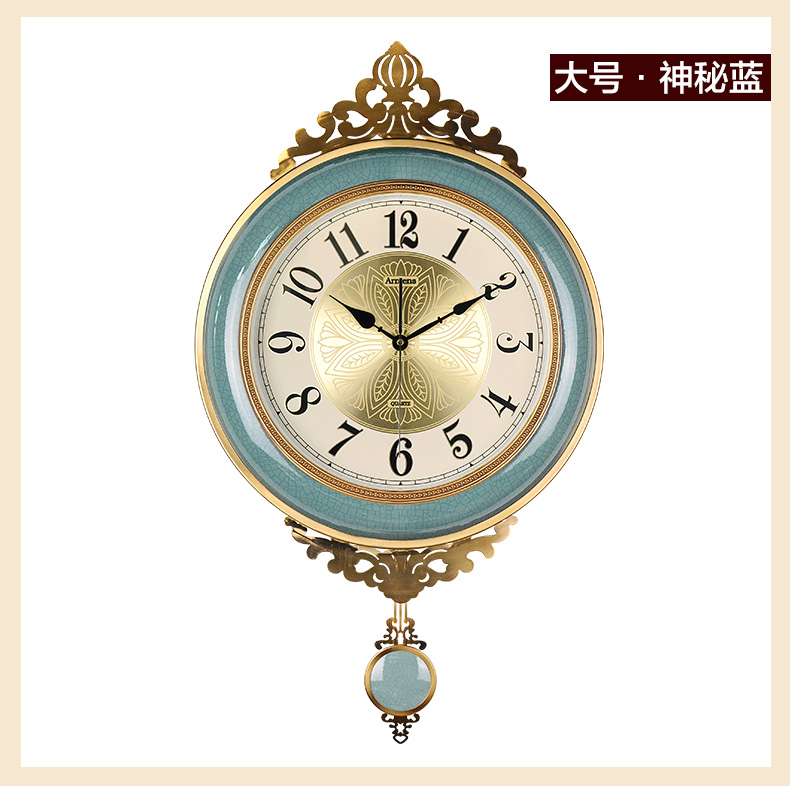 Large Metal Wall Clock Vintage Ceramic Living Room 3d Pendulum Clock Wall Decor Luxury European Home American Reloj Home SC444