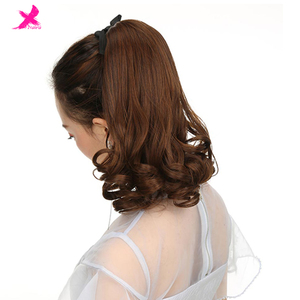 Xnaira 10 Inch Short Curly Clip In Drawstring Ponytail Synthetic Ponytail Hair Extensions Pure Color High Temperature Fiber Hair