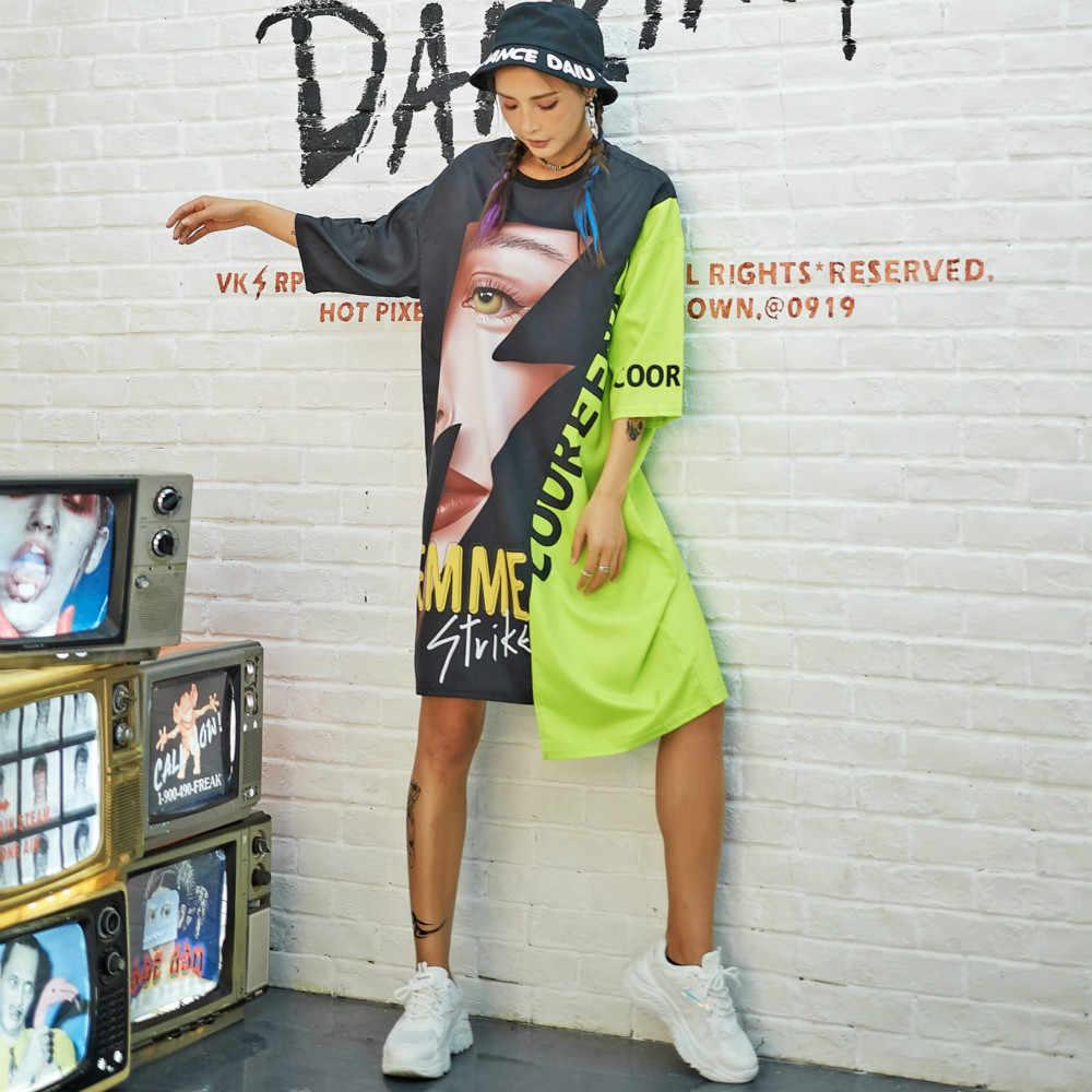 Hip Hop t-shirt elbise kadın Harajuku düzensiz 3D baskı kaya uzun Tee yeni kısa kollu gevşek üstleri dans renk blok streetwear