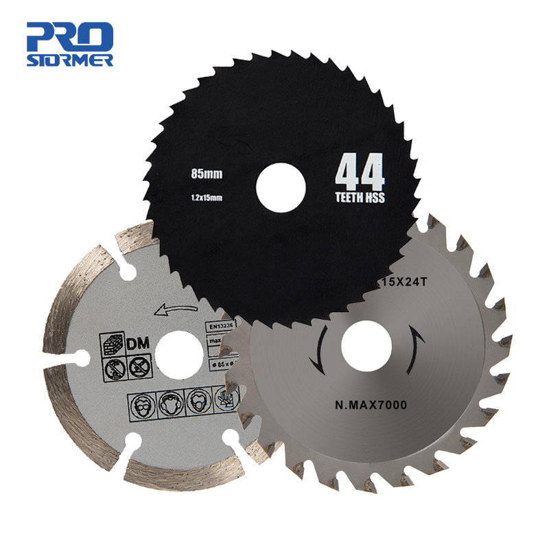 PROSTORMER 3pcs/lot 85mm Circular Saw Blades HSS/TCT Woodworking Rotary Tool Cutting Discs Mandrel For Mini Circular Saw PTET030