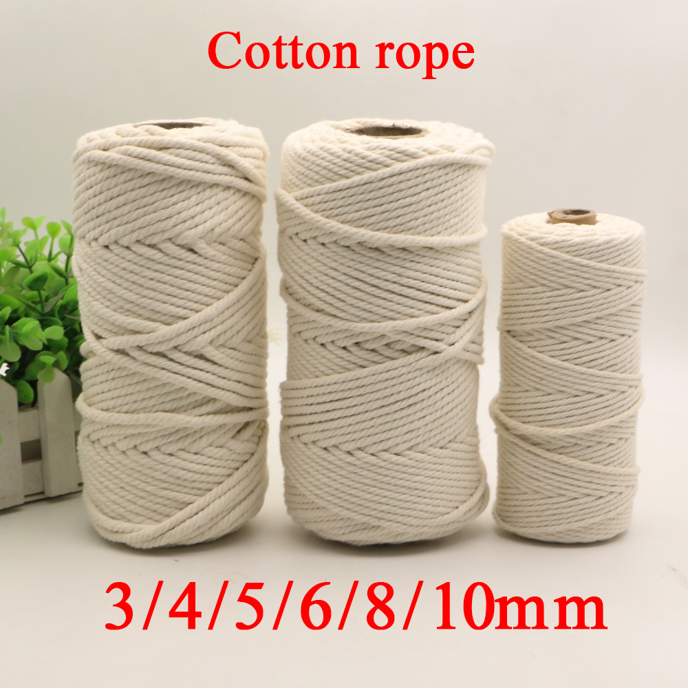 3mm 4mm 5mm 6mm 8mm Macrame Rope Twisted String Cotton Cord For Handmade Natural Beige Rope DIY Home Wedding Accessories Gift