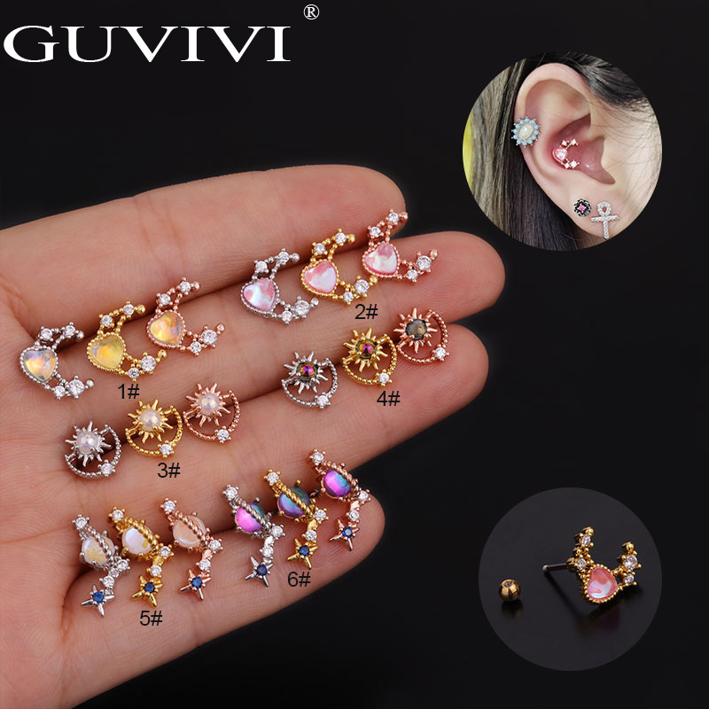 1Pc Galaxy Zircon Cartilage Ear Stud Surgical Steel Tragus Helix Piercing Bar Small Earring Tunnel Plug Jewelry Women Girls