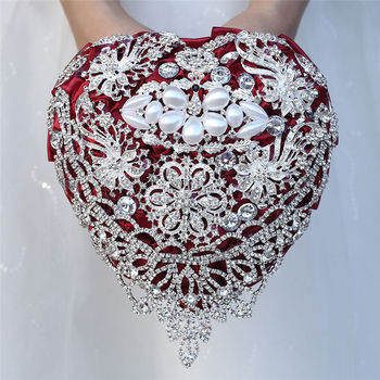 Full Diamond Dark Red Rose Bouquet Wedding Flower Brides With Hand Holding W520