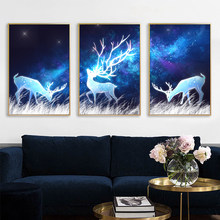 Nordic Fantasy Elk Canvas Poster Abstract Painting starry Night Wall Art Print Wall Pictures for Living room Modern Home Decor(China)