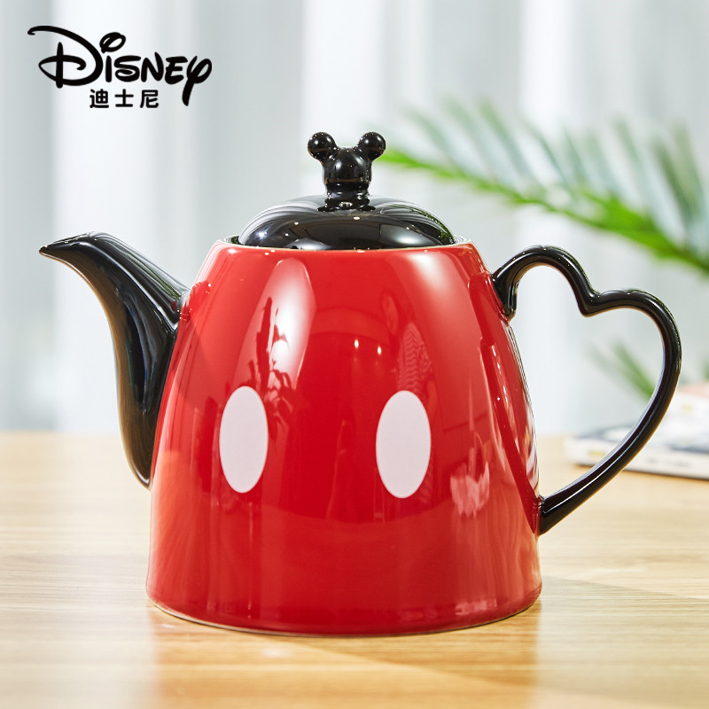1200ml Disney Mickey Cartoon Water Kettle Coffee Milk Tea Breakfast Ceramic Kettle Home Office Collection Pot Festival Gifts