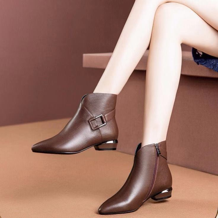 ZANPACE Fashion Women Boots Winter Zipper Retro Leather Shoes Pointed Toe Thick Heel Ankle Boots Plus Size High Heels Footwear