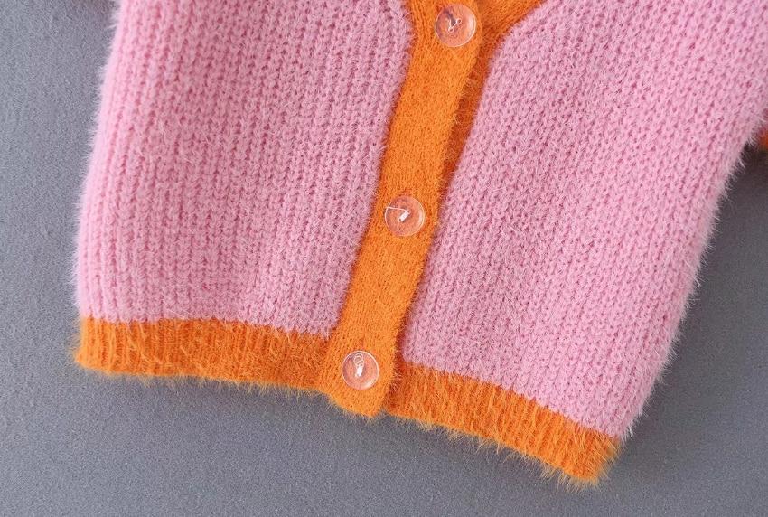 Pink cardigan womens sweaters korean crop sweater yellow autumn tops short sleeve v neck short cardigan mohair sweater fall 19 5