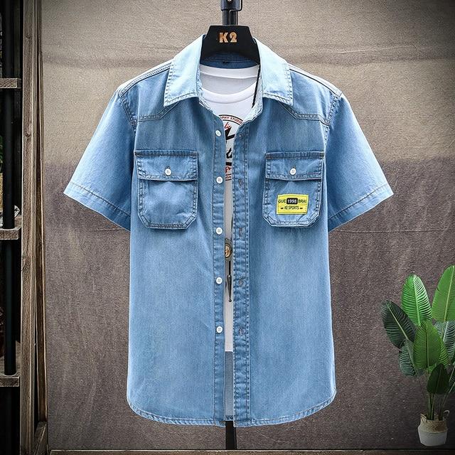 Men's Blue Denim Shirts Men T-shirts / Shirts color: Light Blue Navy blue