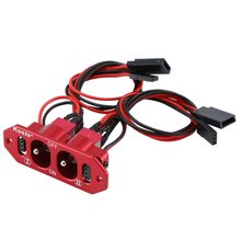 цена на CNC Aluminum Alloy Heavy Duty Double ON-OFF Power Switch With Futaba JR Cable For RC Airplane Models