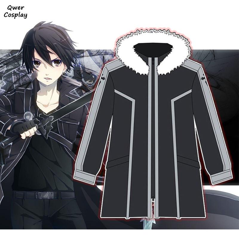 Anime SAO Sword Art Online Cosplay Hoodie Kirigaya Kazuto Kirito Warm Thicken Hooded Fleece Jackets Zipper Coat Costumes