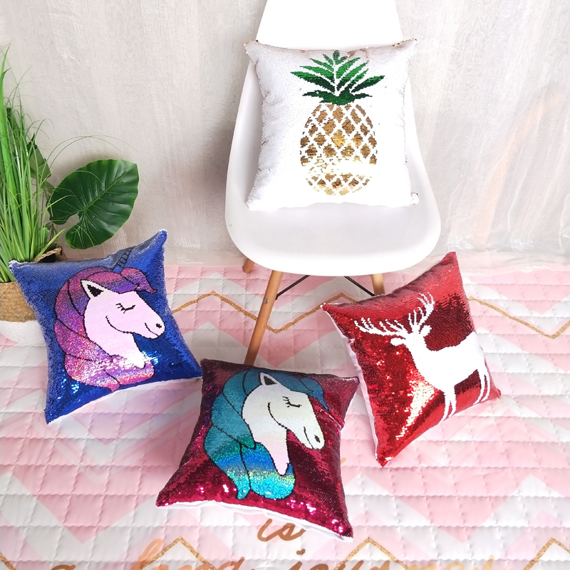 Cushion Pineapple Unicorn Fawn Sequin Pillowcase + Pillow Core 4 Style Cushion Office Home Decoration Eco-Friendly Pillows