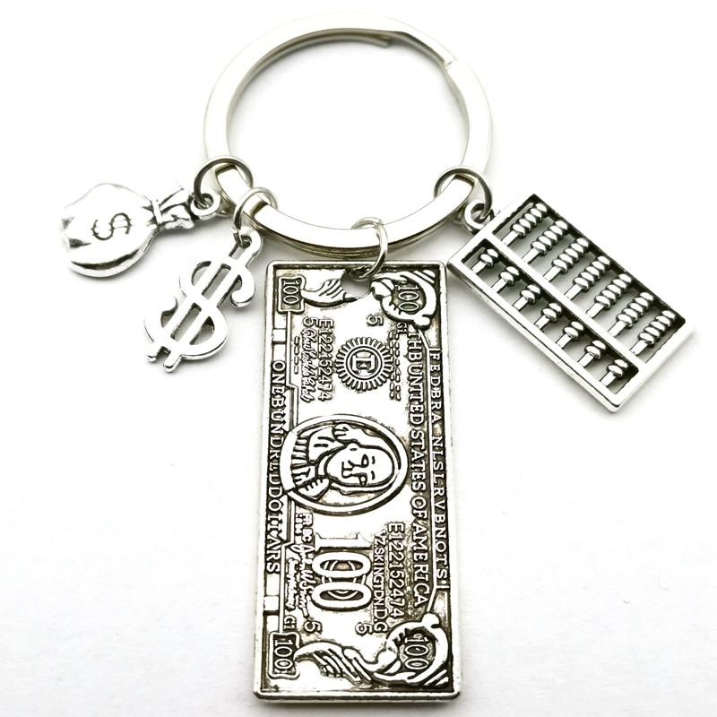 Novo mini modelo de dólares calculadora ábaco dinheiro saco chaveiro caneta modelo bonito pingente chaveiro lembrança diy artesanal