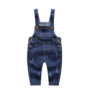Image 2 - ילדים של ג ינס סרבל 12M כדי 4T ילדים כחול סרבל ג ינס מכנסיים עם חורים שבורים בני בנות ילדים של בגדים