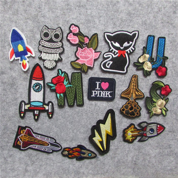 hot sale high quality flower Embroidery Iron on Patches for Clothing DIY Stripes Clothes Planet Stickers Universe Applique image
