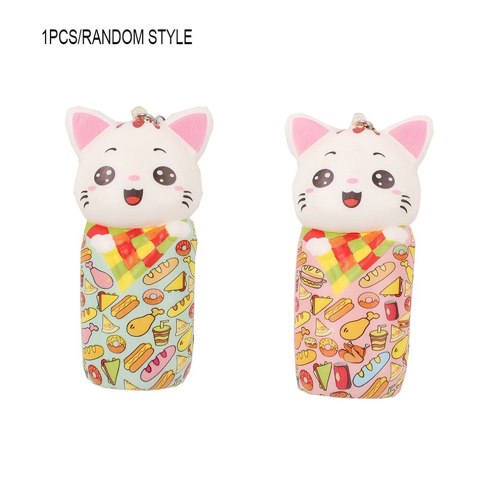 Simulated Cartoon Colorful Paper-cut Kitten Toy Decoration Slow Rebound Decompression Toy Foam Relaxed Toy Cake Sample Model