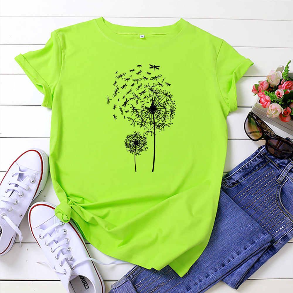 Camiseta De Talla Grande Con Estampado De Diente De Leon De Libelula Para Mujer Ropa De Calle Harajuku Creativa Tops De Algodon Camiseta Holgada A La Moda De Tallas Grandes Camisetas Aliexpress