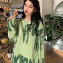 Oversized Pullovers Women Sweater Elegant Green Striped Print Winter Long Sweaters Streetwear Ladies Jumper Warm Outerwear 2021