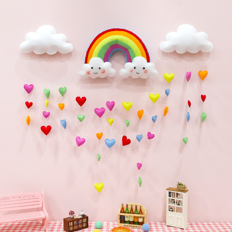 Meian Unfinished Baby Room Handmade Rainbow Unicorn Christmas Kids Room  Wall Decorations Felt DIY Craft