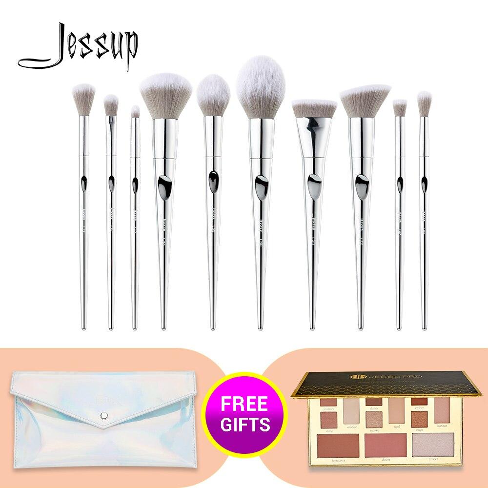 Jessup Set Fantasy Silver Make Up Brushes Foundation Eyeshadow Powder Brush Environment-friendly Handle Material