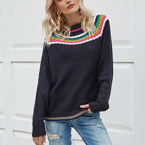 Women Fashion Loose Color Contrast Comfortable Long Sleeves Sweater Tops sweater women vintage fashion женские свитера mujer