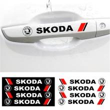 4PCS Car Door Handle Sticker Creative Rear View Mirror Sticker Body Decal For Skoda Octavia Superb Fabia Rapid Yeti Kodiaq Karoq