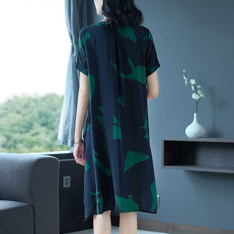 Damska letnia sukienka 2020 duży rozmiar luźny jedwab Midi Casual Dress dla kobiet sukienki plażowe elegancki Vestido Mujer KJ1855