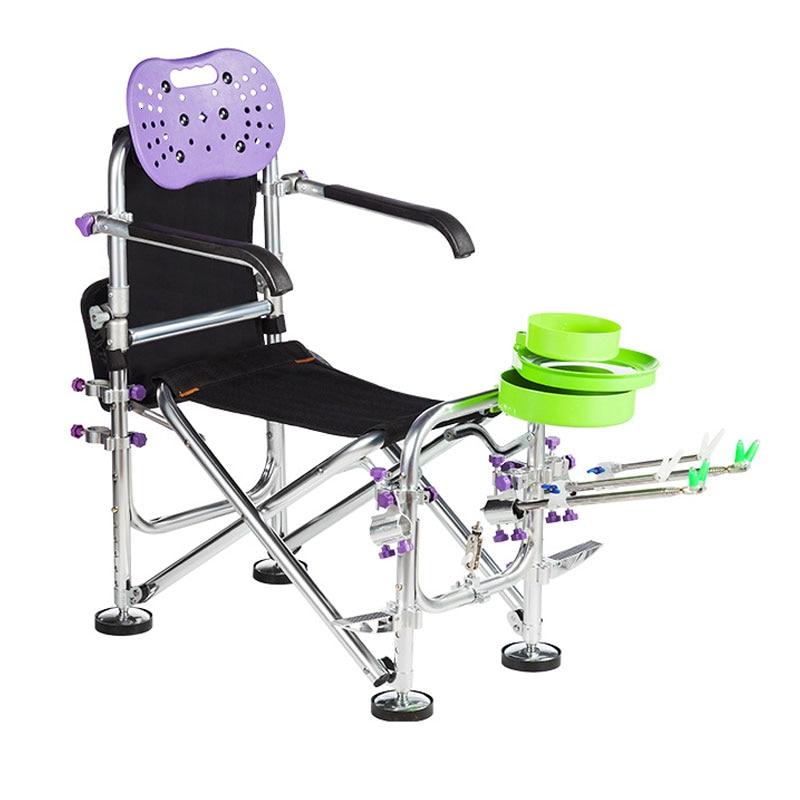 New Multi-function Fishing Chair Thickening Reclining Table Fishing Chair All-terrain Seat Folding Fishing Stool Fishing Gear