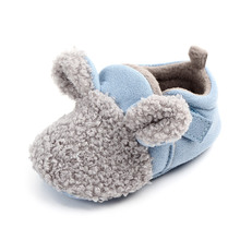 Autumn and winter cute baby cotton shoes baby child warm non-slip bag with home shoes toddler shoes cheap First Walkers Cartoon Low Top 14 Yards 13 5 Ears Yellowish brown Common Thick 2 Days D2028 Anti Slip Currently Available
