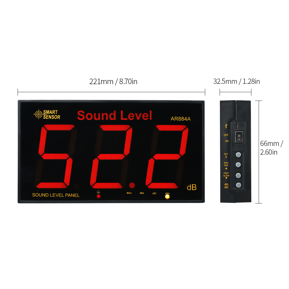 INTELIGENTE SENSOR AR884A 30 ~ 130dB LCD Medidor de Nível de Som Digital Pendurado Na Parede de Ruído Medida Tester Decibel Monitor de Detector