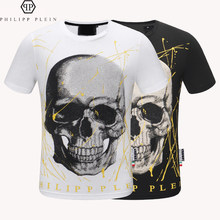 Philipp Plein-marque mode T-shirt PP diamant chaud décontracté manches courtes T-shirt Européen Américain haut T-shirts