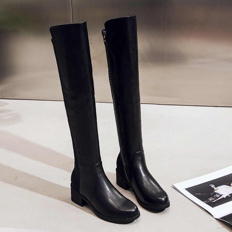 Femmes bottes mince Sexy sur le genou bottes mode daim et cuir cuissardes femme bottes d'hiver Bota 2019 livraison directe