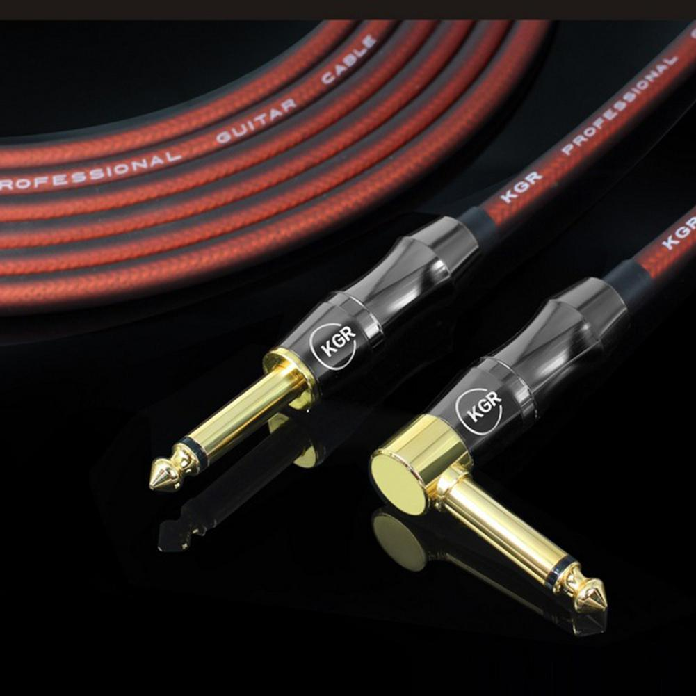 Electric Guitar Bass Audio Cable Line Connector Straight To Right Angle Plug Instrument Noise Reduction Shield Guitar Wire 20AWG