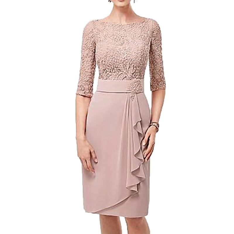 Mãe dos vestidos de noiva do vintage renda meia joelho-comprimento vestido de noiva mãe vestido mae da noiva mães vestidos para o casamento