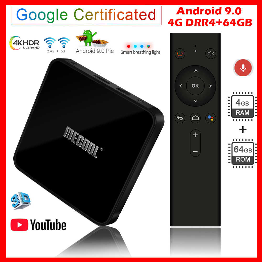 MECOOL KM3 Android 9.0 TV Box 4 go DDR4 RAM 64 go ROM Google certifié Android TV Box USB 3.0 ensemble lecteur multimédia 4K décodeur TV
