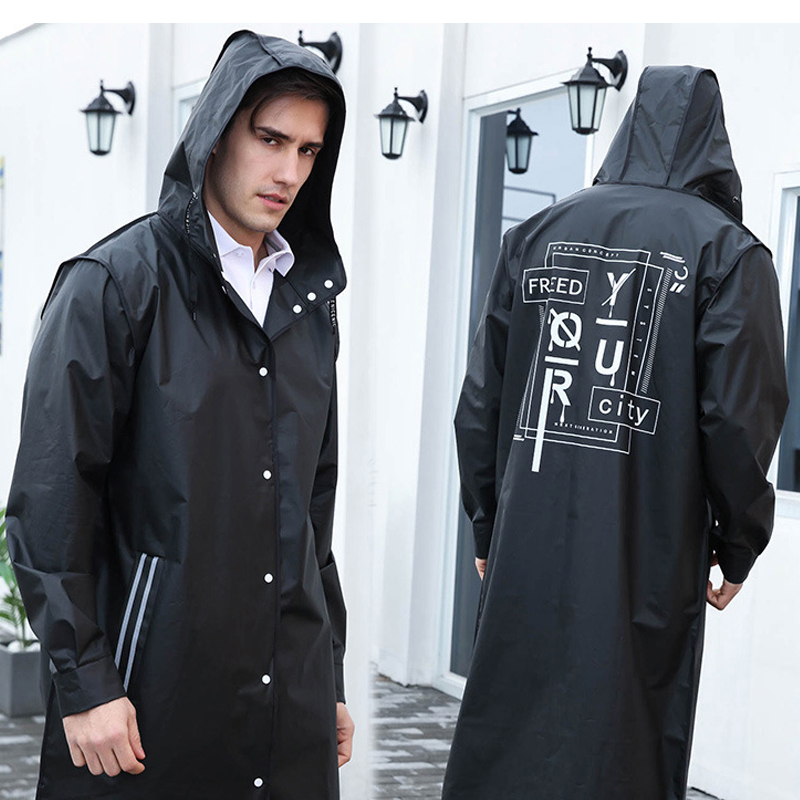 Fashion Long Men/Women Raincoat Unisex Adult Waterproof Poncho Tour Plastic Rain Coat with Letter Printing Drawstring Rainwear