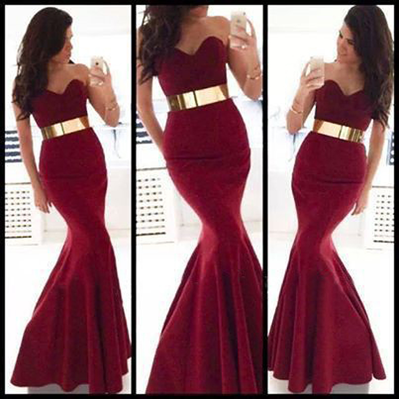2018 Sexy Sweetheart Burgundy Satin Long Mermaid Prom Sweep Train Party Gown With Gold Belt Brides Bridesmaid Dresses
