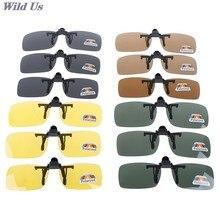 Alta qualidade unisex clip-on polarizado dia visão noturna flip-up lente óculos de condução uv400 equitação óculos de sol para fora 1 pc