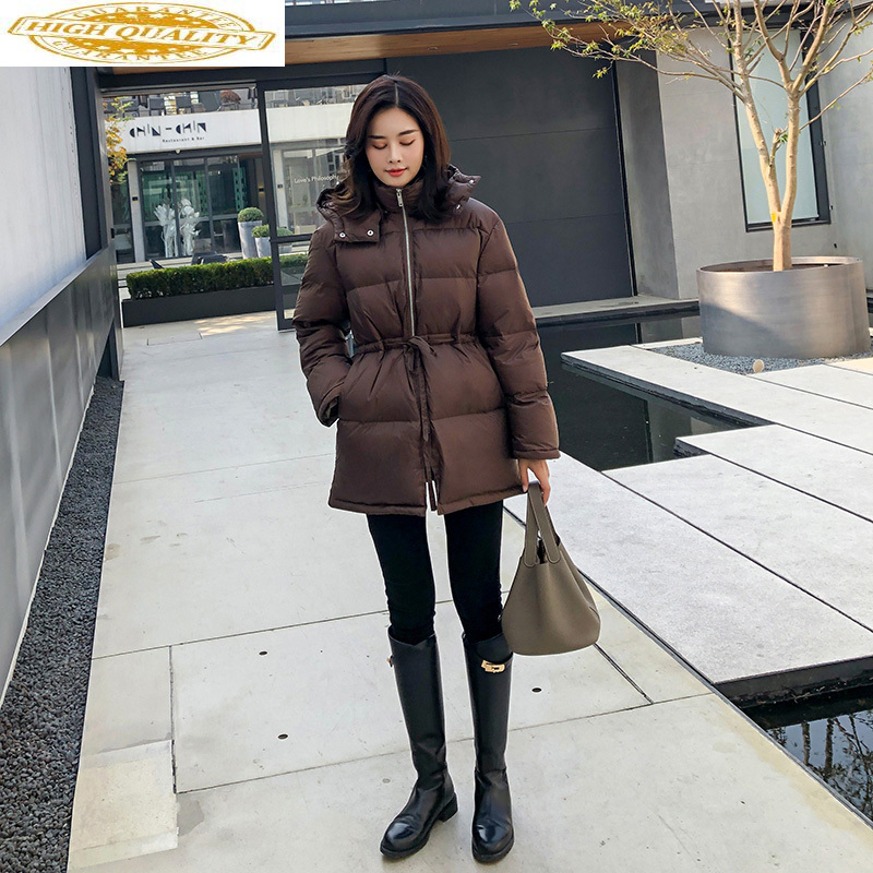 Women's Down Jacket Korean Winter Puffer Coat Hooded Bubble Duck Down Jacket Women Chaqueta Mujer Invierno KJ3701