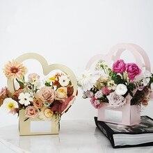 5 قطعة/الوحدة المحمولة القلب زهرة صناديق للطي زهرة صندوق ورقي زهرة علبة التعبئة والتغليف بائع الزهور لوازم التعبئة والتغليف