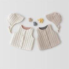 Теплый жилет для новорожденных девочек осенне-зимний плотный двухслойный жилет для маленьких детей Теплые Топы для малышей, верхняя одежда для детей, шапка для детей возрастом до 2 лет