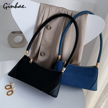 Famous Brand Women Nubuck Leather Handbags Ladies Personality Over Shoulder Bag Suede Rivet Baguette Vintage Letter Tote