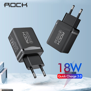 ROCK 18W QC 3.0 USB Quick Phone Charger Travel Wall Adapter 18W QC3.0 FCP Universal For Xiaomi iPhone Samsung EU Plug