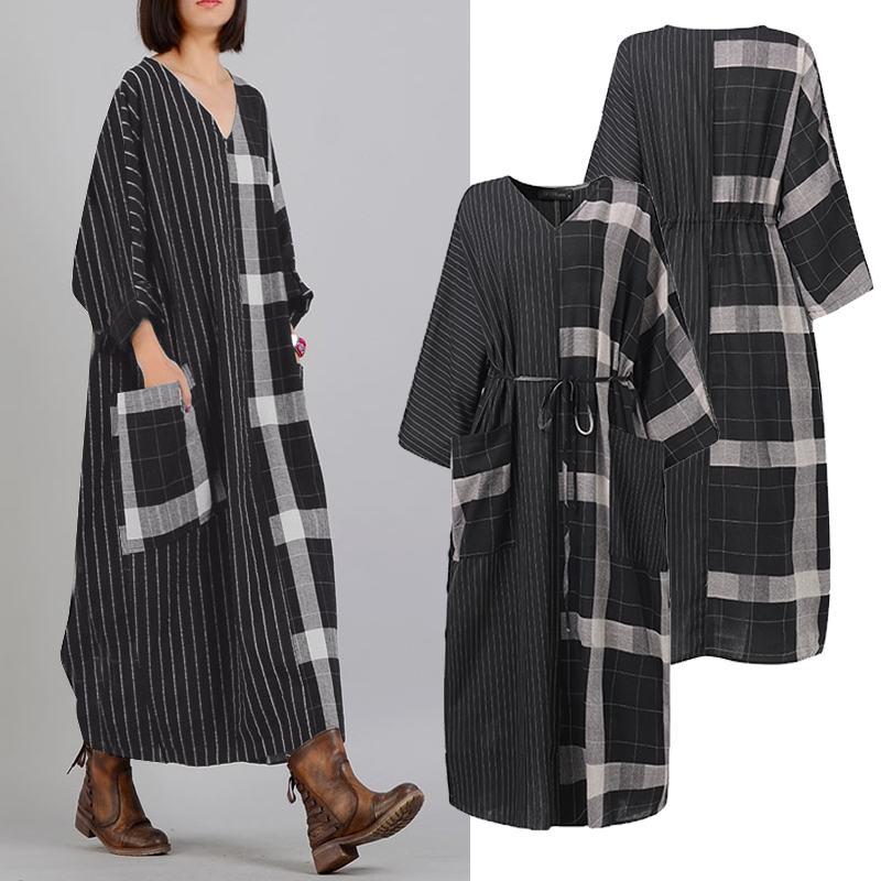 Women's Patchwork Sundress ZANZEA 2020 Vintage Spring Check Maxi Dress Casual Long Sleeve Stripe Vestidos Female V Neck Robe 5XL