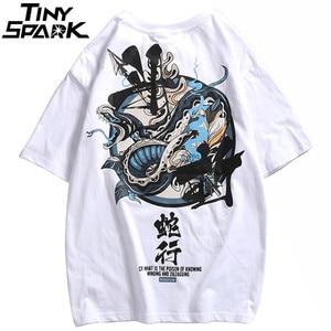 Image 4 - Женские китайские футболки со змеиным принтом, уличная одежда в стиле Харадзюку, весна лето 2020, футболки с коротким рукавом, хлопковые футболки