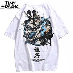 Image 4 - Camiseta de Hip Hop para hombres, camisetas de Charaters chinos de serpiente, ropa de calle Harajuku, camiseta de primavera y verano, camisetas de manga corta de algodón 2020